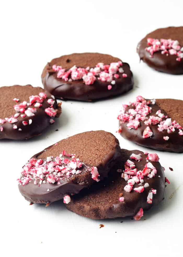Peppermint Chocolate Shortbread Cookies