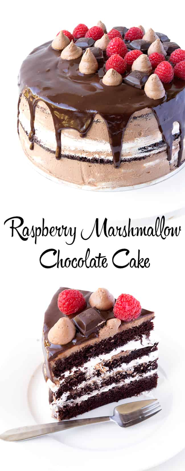 Raspberry Marshmallow Chocolate Layer Cake - Sweetest Menu