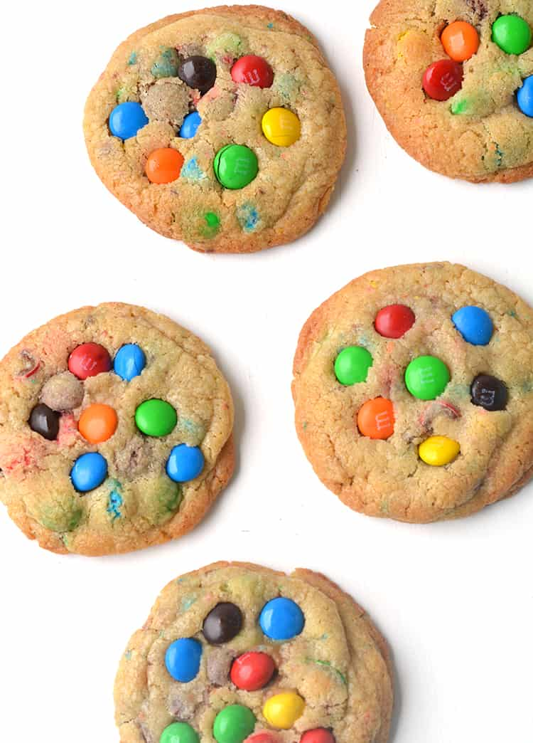Overhead shot of colourful M&M cookies
