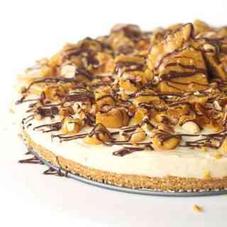 No Bake Caramel Cheesecake Slice with Peanut Brittle