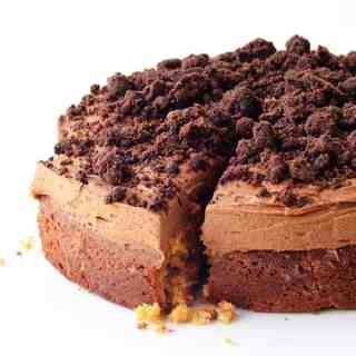Peanut Butter Poke Cake with Chocolate Crumbs