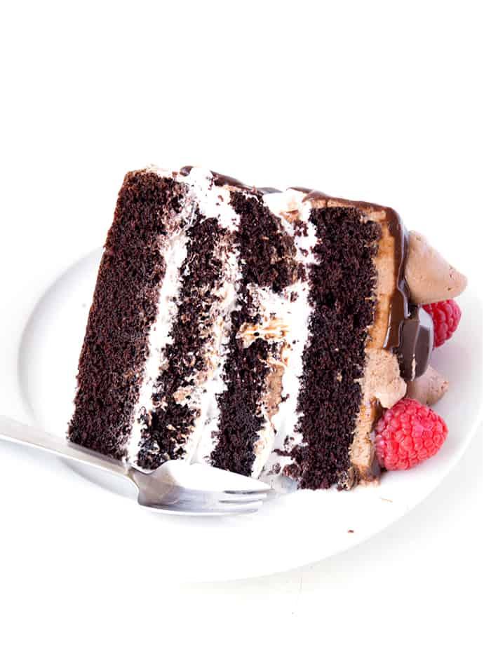 Raspberry Marshmallow Chocolate Layer Cake