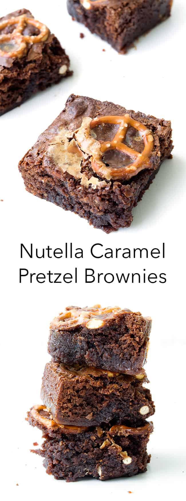 Nutella Caramel Pretzel Brownies | Sweetest Menu