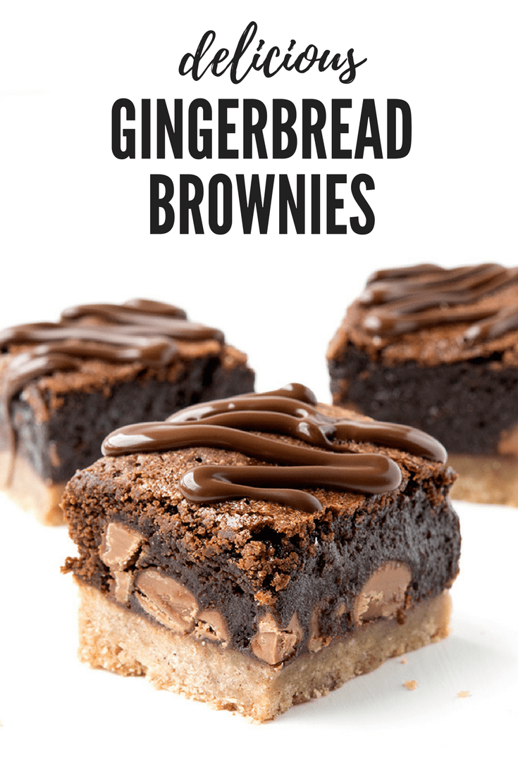 Amazing chocolate brownies with a spiced gingerbread cookie crust! These fudgy double choc brownies are perfect for Christmas! Recipe from sweetestmenu.com #brownies #chocolate #gingerbread #Christmas