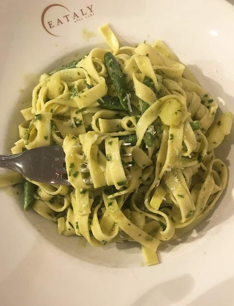 Pesto pasta from Eataly Chicago