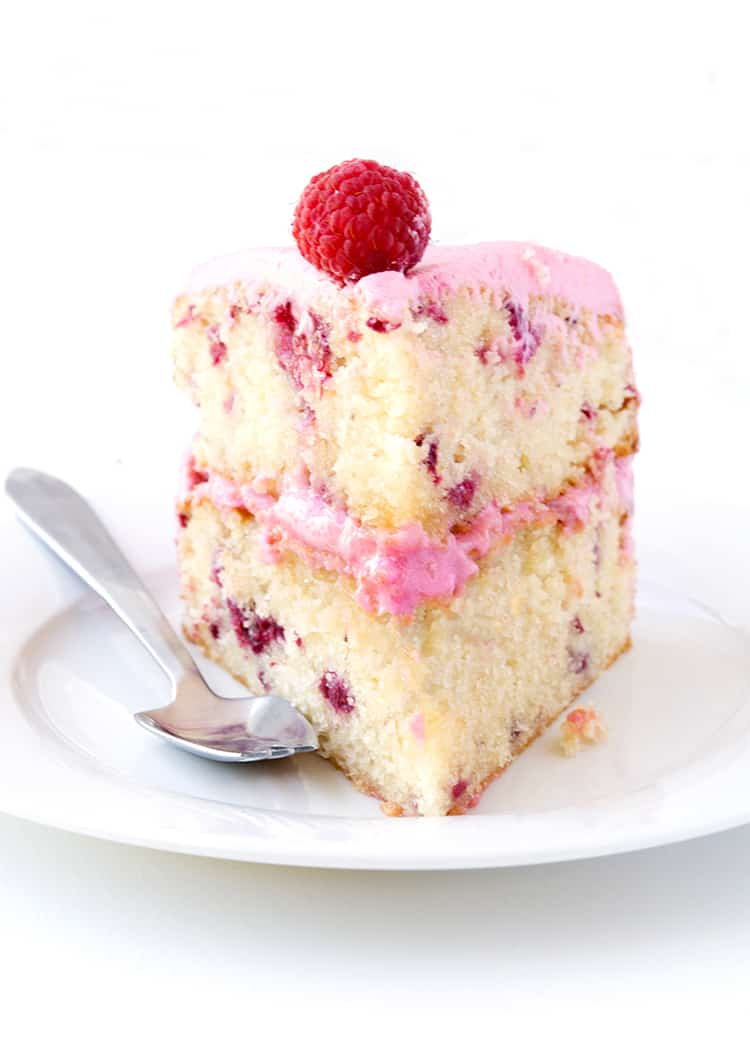 White chocolate raspberry layer cake