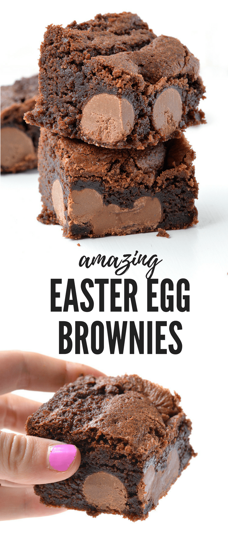 AMAZING Easter Egg Chocolate Brownies with a extra fudgy centre and chewy edges. Stuffed with mini Easter eggs, it's a special Easter dessert. Recipe from sweetestmenu.com #brownies #easter #chocolate #eastereggs