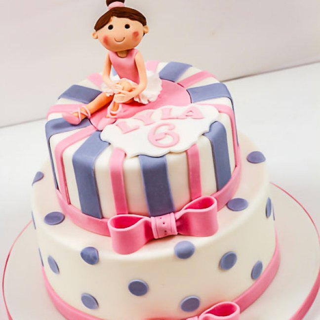 girls 6th birthday cake, ballerina
