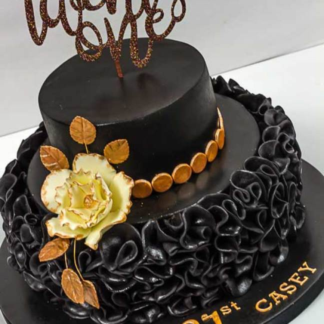 2 tier black & gold 21st birthday cake