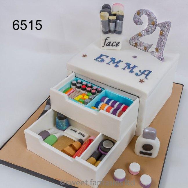 girls 21st birthday cake, make-up draws