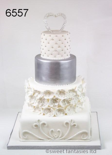 White & Silver 4 Tier Round & Square Wedding Cake