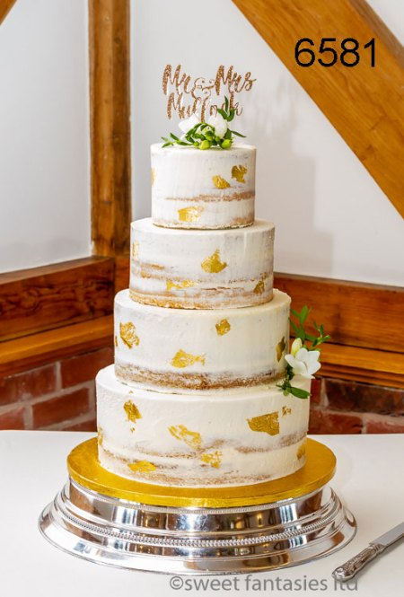 4 Tier Semi Naked Wedding Cake with Gold Leaf High lights