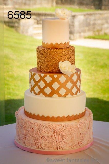 5 Tier Copper & Pink Wedding Cake