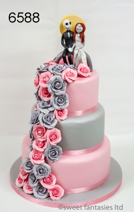 Pink & Grey Nightmare Before Christmas Wedding Cake