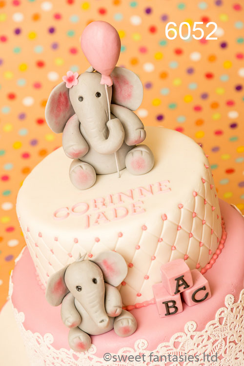 Elephants on christening cake