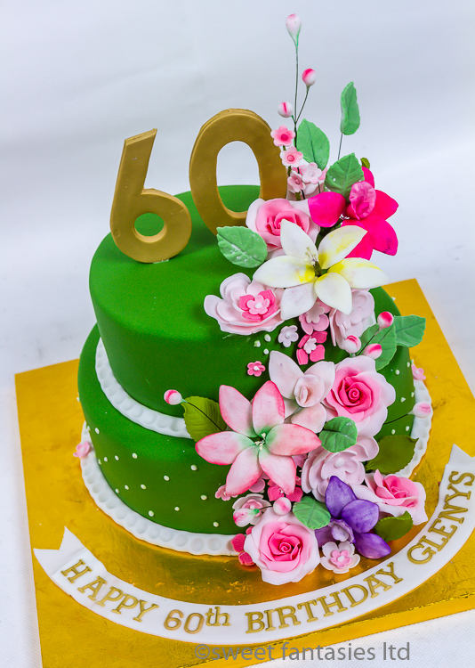 60th Cake with Flowers