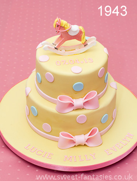 Pale yellow girls christening cake with rocking horse - sweet fantasies cakes