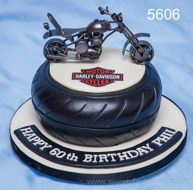 Harley Davidson themed mans birthday cake