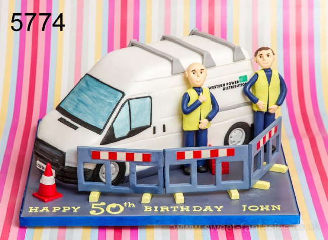 3D White Van & Workmen Birthday Cake
