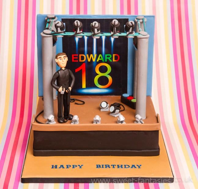 Boys 18th Birthday Cake, stage lighting