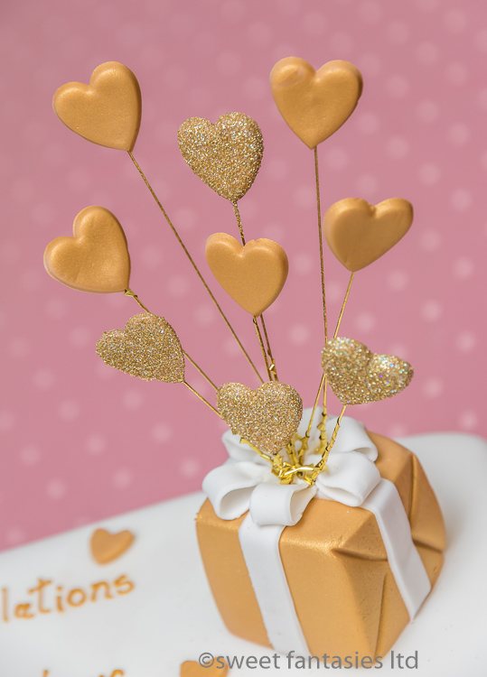 Sugar Paste Parcel with Hearts Cake Topper