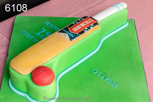 Cricket Bat & Ball 12th Birthday Cake