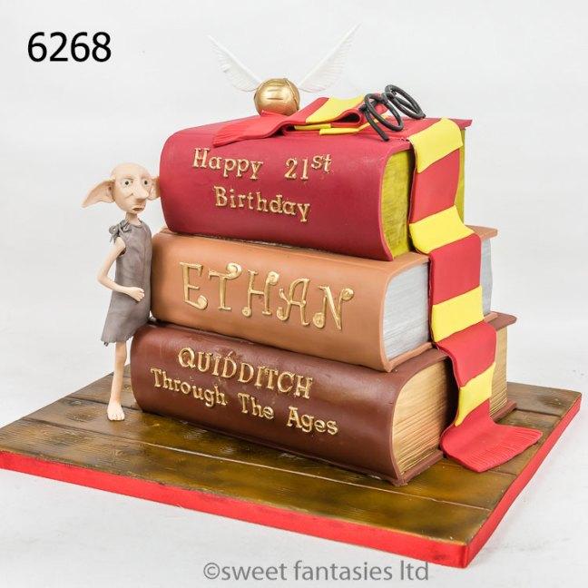 3 Harry Potter books & dobbie, 21st birthday cake