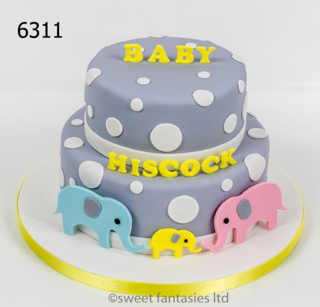 baby shower cake with elephants