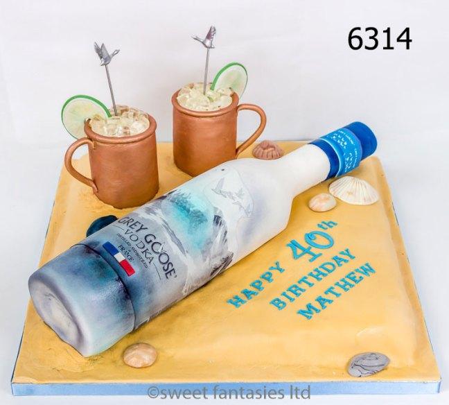 3D Grey Goose vodka bottle, birthday cake
