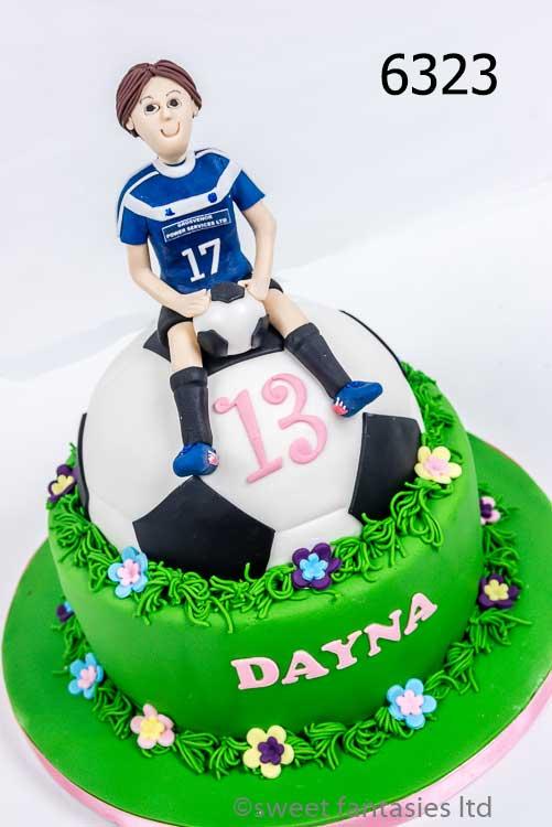Girl Sitting on a Football,, 13th Birthday Cake