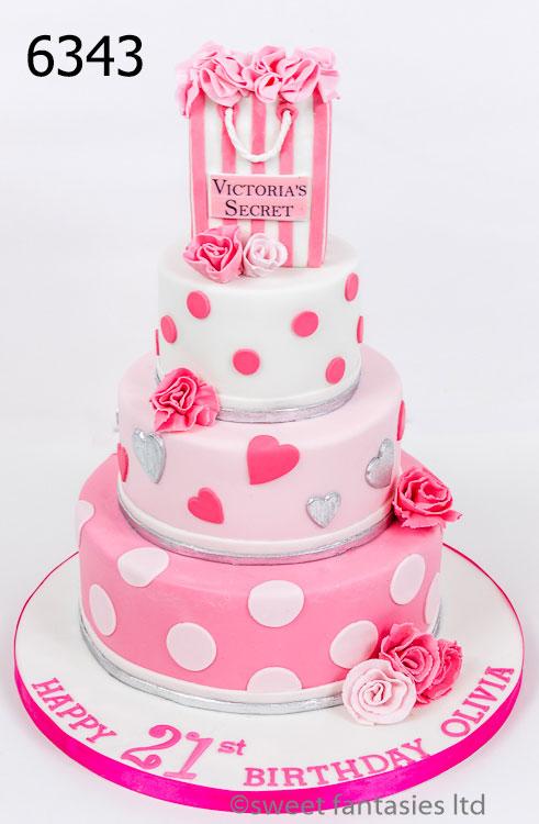 3 tier girls 21st cake with Victoria's secret bag