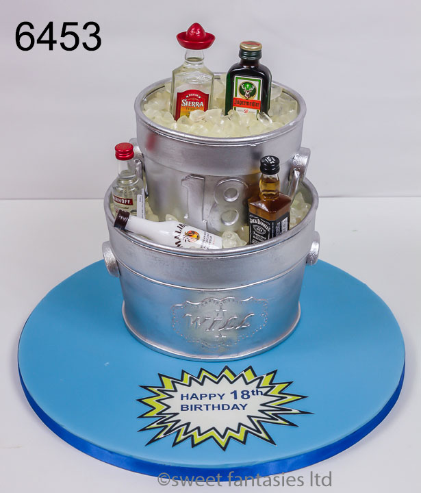 Ice buckets with Miniatures Alcohol bottles 21st cake