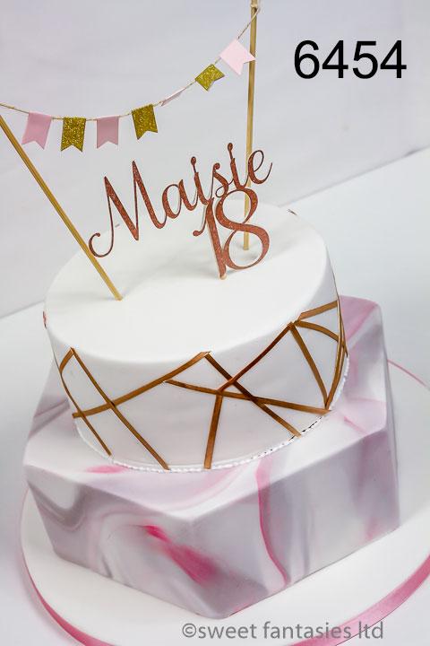 Pink marbling, white & gold girls 18th cake