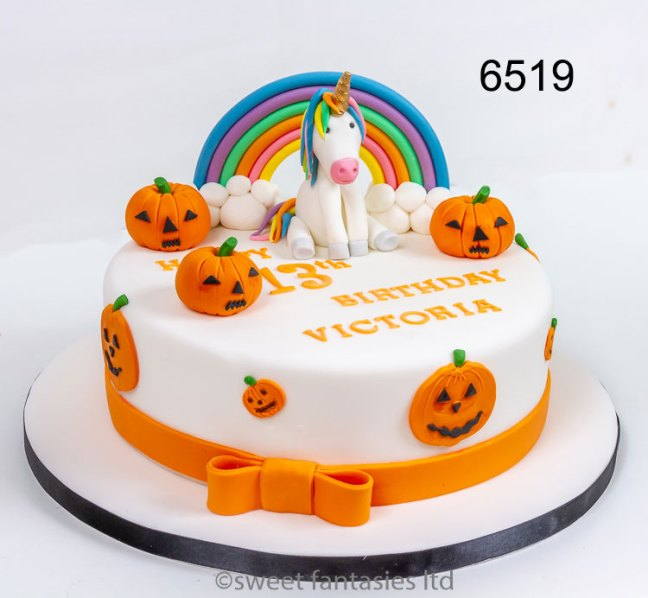 Halloween themed Unicorn Birthday Cake