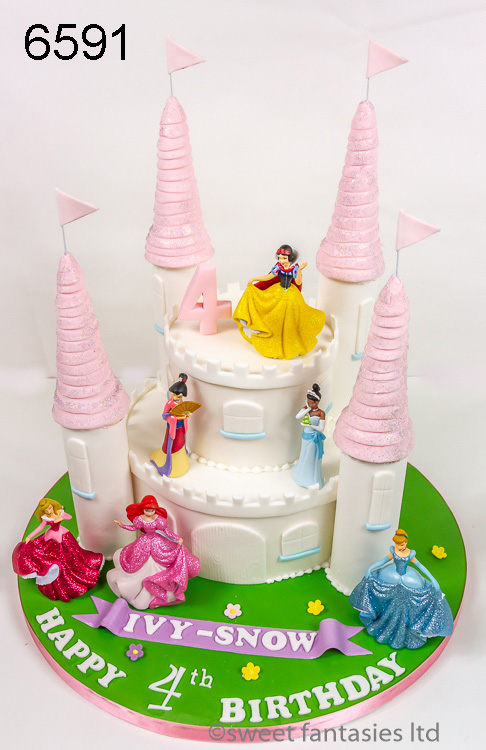 girls birthday cake - castle with princesses