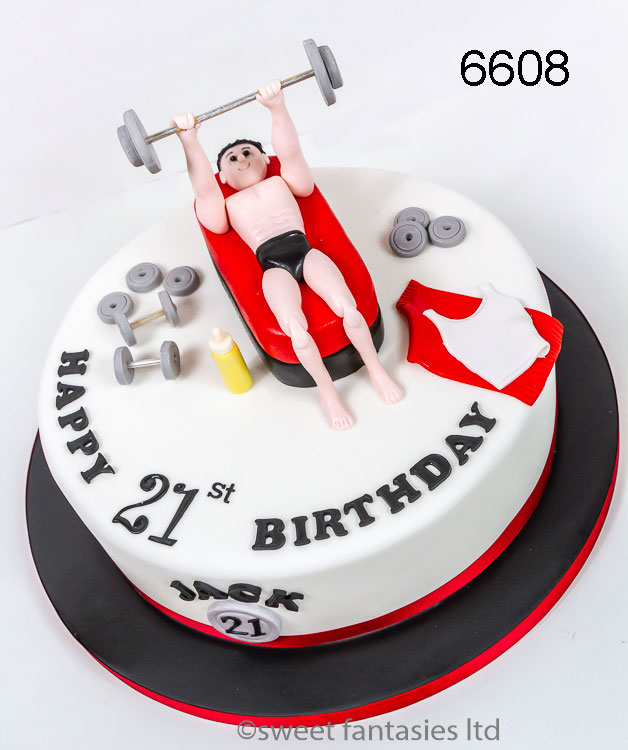 Boy lifting weights, 21st birthday cake
