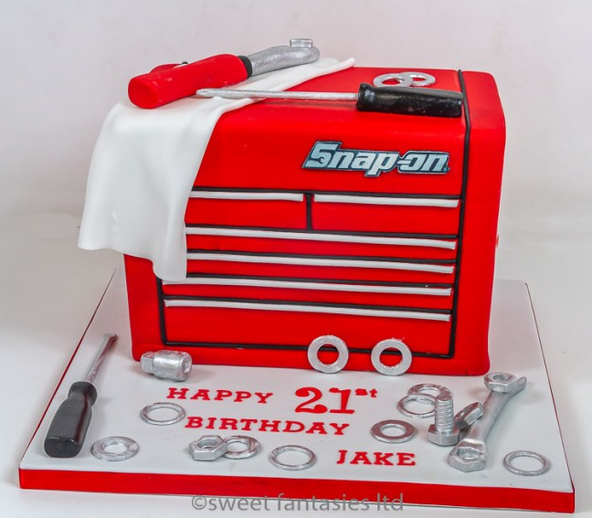 3D snap-on tool box with tools- boys 21st cake