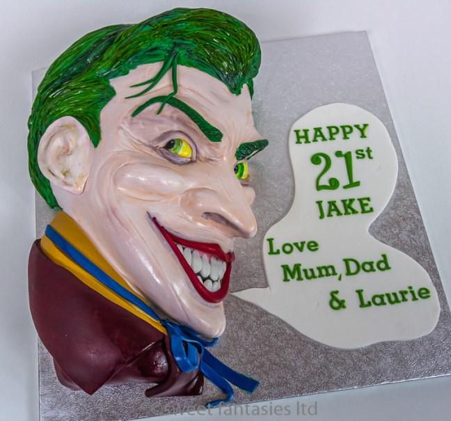 3D Jokers face, boys 21st birthday cake