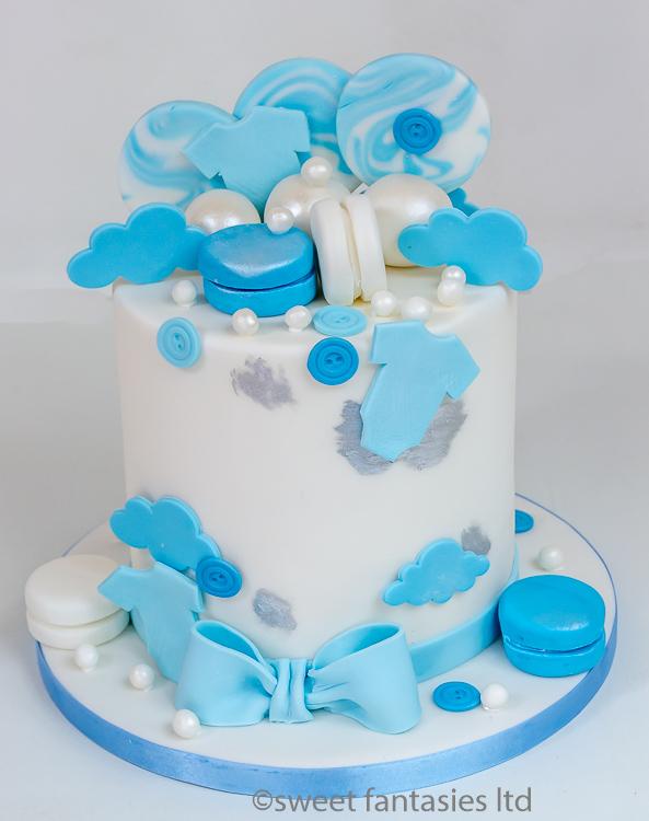 White & blue baby shower cake