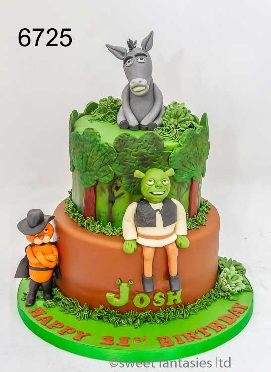 Shrek themed 21st birthday cake