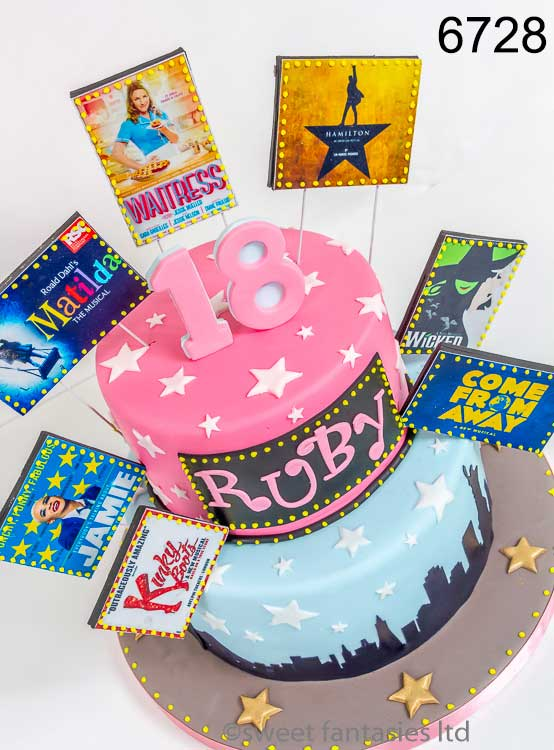 2 tier girls 18th, musical themed cake