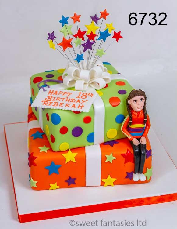 2 tier multi coloured girls 18th birthday cake