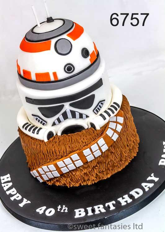 3 tier Star Wars themed birthday cake