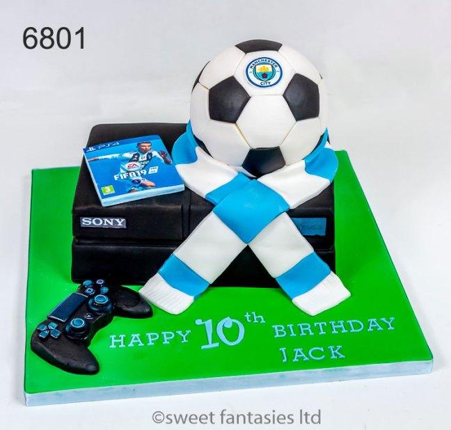 Play Station, 3D Football & Scarf, Boys Birthday Cake