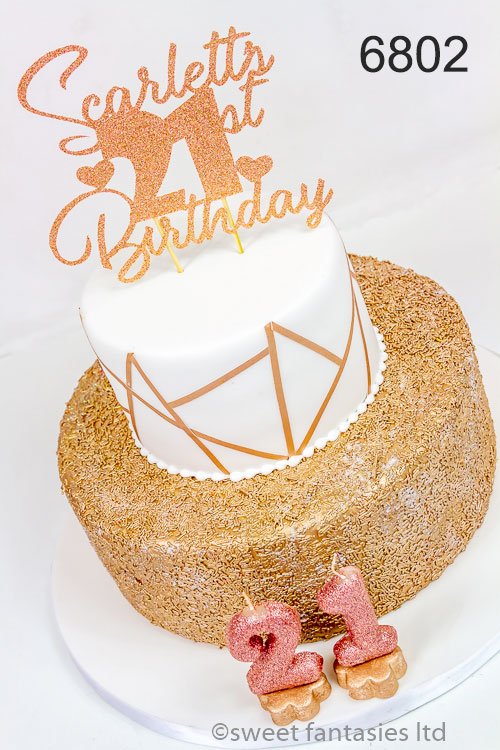 Gold & white 21st birthday cake