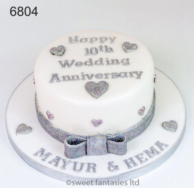 White & Silver 10th Anniversary Cake