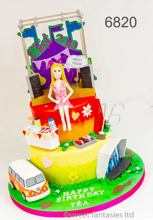 2 tier Music festival themed cake