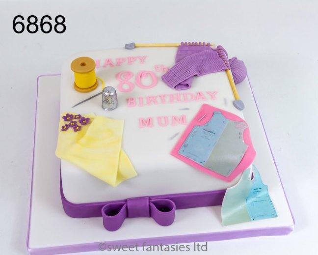 80th birthday, sewing themed birthday cake