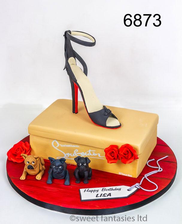 3D Louboutin shoe box & shoe birthday cake