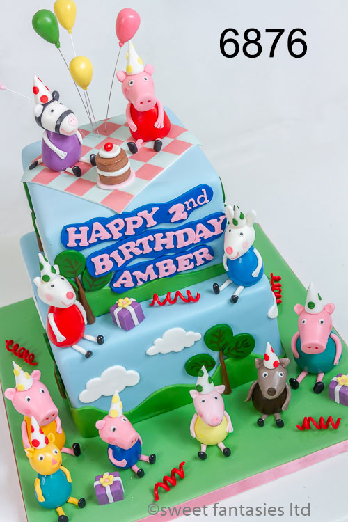 2 tier cake, Peppa pig with family & friends having a picnic